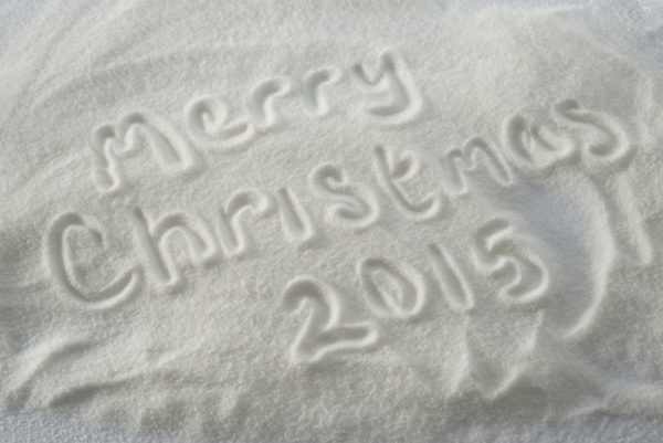 Merry Christmas 2015 drawn in snow